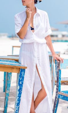SUMMER MAXI SHIRT DRESS in WHITE