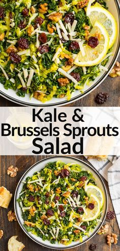 This Kale and Brussels Sprouts Salad with maple vinaigrette, walnuts, and Parmesan is stunning and absolutely delicious. It keeps well in the refrigerator, so it's great for meal prep and entertaining. Kale Recipes, Potluck Recipes, Summer Recipes, Vegan Recipes, Easy Healthy Dinners, Healthy Salads, Healthy Eats, Healthy Foods, Vegane Rezepte
