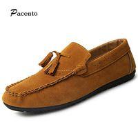 2016 PACENTO Fashion Slip On Men Shoes Men's Tassels Designer Casual Shoe Male Driving Flat Shoes Mens Espadrilles Moccasins Men