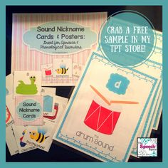 Freebie! A sample of the Sound Nickname Cards & Posters. Great to use with kids who have apraxia or phonological disorders.