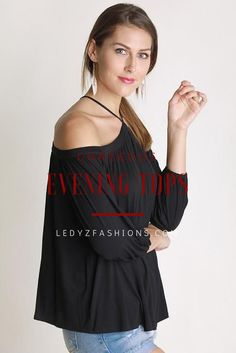 The Sing It Now Spaghetti Strap Off The Shoulder Top - Black is the perfect top to put on your favorite song and lose yourself in the music! This soft top is a stunning black that falls from spaghetti straps to an off the shoulder neckline, 3/4 sleeves and relaxed bodice. This top is made with Bamboo fabric so it is very soft!   Black off the shoulder top - black off the shoulder night top - long sleeve black off the shoulder top - dressy off the shoulder top   ledyzfashions.com