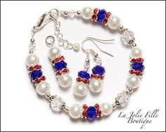 Patriotic Americana USA Red White Blue Glass Beads Crystals Women Bracelet Earrings Pendant Jewelry Set Memorial Day Independence 4th July on Etsy, $15.00