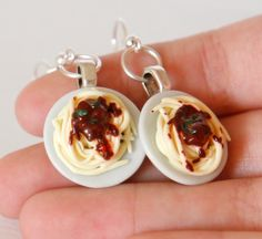 Pasta with Bolognese sauce earrings made from polymer clay and basil on top. Plates are ceramic. Each detail is made by hand and carefully placed.   Due