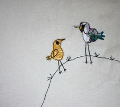 mummy & baby bird on a hill appliqué tote bag