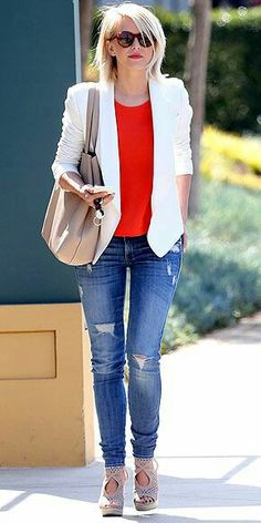 red blouse; white blazer; jeans pants; nude shoes; nude purse