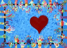 Beautiful Classroom art project – love the colorful hand prints!