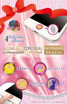 """sailor moon"" ""sailor moon merchandise"" ""sailor moon toys"" ""sailor moon accessories"" smartphone tablet sticker button alumi japan anime shop"