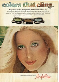 1977 Advertisement Maybelline Colors That Cling Eye Powder Shadows Makeup Cosmetics Frost Velvet Pearly Ultra Beauty Model Wall Art Decor Ultra Beauty, Beauty Ad, Beauty Tips, Beauty Products, Maybelline Eyeshadow, Eyeshadow Makeup, Eyeliner, Vintage Makeup, Vintage Beauty