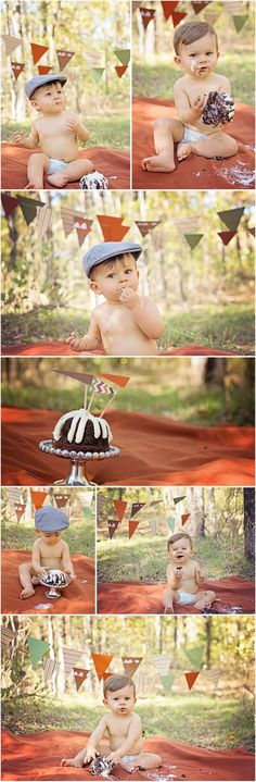 Woodland Outdoor Cake Smash for One Year Old by Sevin Jane Photography -- Newsboy Hat -- Nothing Bundt Cake -- Pennant Banner -- Fine Art Children Portraiture -- Mansfield Texas