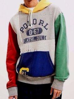 04f63b9f25e Polo Ralph Lauren Men Vtg Retro Stadium Patchwork Hoodie Pullover  Sweatshirts