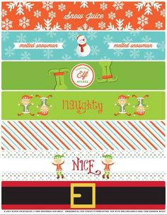 Christmas Is Almost Here And These Water Bottle Labels Or Napkins