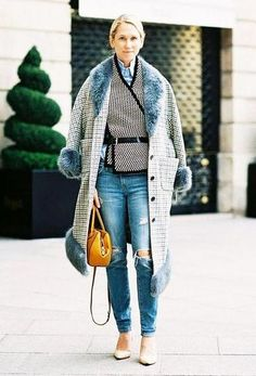 Belting Scarf Trend - black and white herringbone scarf belted over a chambray shirt, with a long line grid coat, blue fur accents + ripped denim and nude heels