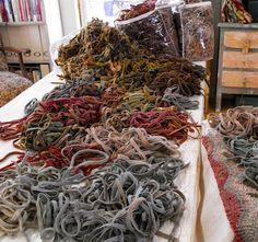 Wool strips for rug hooking.