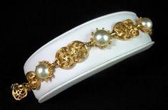 """Vintage EMMONS Faux Pearl Filigree Link Bracelet Gold Tone 6-8.5"""" Adj Gorgeous!  $38.00 SOLD"""