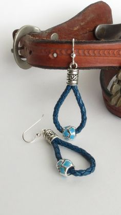 Leather Earrings Blue Leather Earring Blue and by BlueMonkeyBling, $22.50