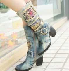 Unique Print Denim Chunky Heel Forget A Boot It From the Plus Size Fashion Community at www.VintageandCurvy.com