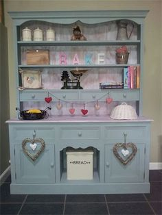Kitchen dresser hand painted predominantly in duck egg blue with a white washed counter top and white washed back boards. Description from pinterest.com. I searched for this on bing.com/images