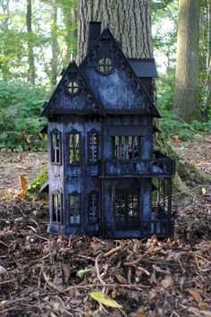 OOAK 1/12 scale handmade/built and painted Gothic Witches house.  Comprises of 6 rooms and 3 floors; ground floor, first floor and attic rooms.