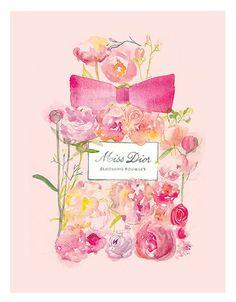 Miss Dior blühen Bouquet Parfüm Aquarell Illustration Print