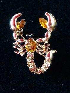 Vintage Antique Gold Rhinestone Crystal Topaz Lobster Fashion Brooch Pin | eBay