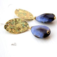 Handcrafted Eco Friendly Oxidized Brass Metalwork Chandelier Artisan Bohemian Earrings with Midnight Blue Cracked Agate Gift for Her. €24.00, via Etsy.
