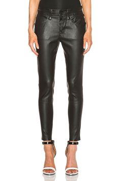 Slouchy Skinny Lambskin Leather Pants