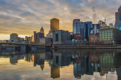 Sun bursts through downtown Pittsburgh  Almost glass.  By Dave DiCello.  My favorite Burgh Photographer