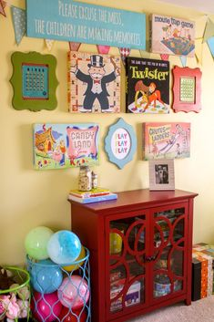 A playroom gallery wall inspired by the fun color of the Elise – Game Room İdeas 2020 Playroom Decor, Vintage Playroom, Playroom Ideas, Kids Decor, Toy Rooms, Kids Bedroom, Room Kids, Kids Rooms, Bedroom Ideas