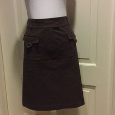 """Lafayette 148 New York Chocolate A-Line Skirt, 8 Gorgeous Lafayette 148 New York chocolate brown A-line skirt, size 8. Excellent condition, worn just twice.  It has a front hidden zipper with button and double hook and eye hidden closures. 2 front pockets and two slit back pockets. It is very slimming and a pretty chocolate color! 96% cotton, 4% elastane. Hits above the knee. 22"""" long, 17"""" flat across the waist. It fits closer to a size 10. Lafayette 148 New York Skirts Pencil"""