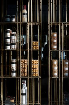 Interesting shelving system at Sweet Alchemy Pastry Shop in Athens by Kois Architecture.