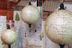 Hanging Globe - From Antiquefarmhouse.com - http://www.antiquefarmhouse.com/current-sale-events/natural-decor/hanging-globe.html