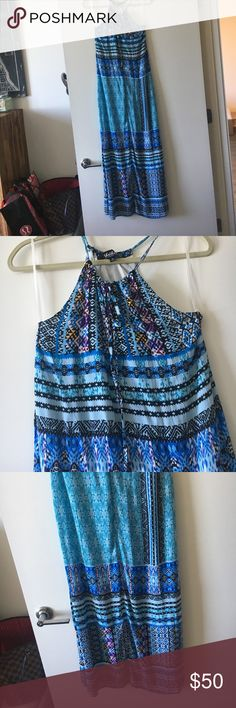 NWOT maxi dress NWOT never worn perfect maxi dress. Blue and racerback like. Flowy. I can ship same day of purchase. Lulu's Dresses Maxi