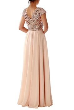MACloth Sequin Bridesmaid Dress Straps V Neck Ruched Long Formal Evening Gown (38, Plateado)