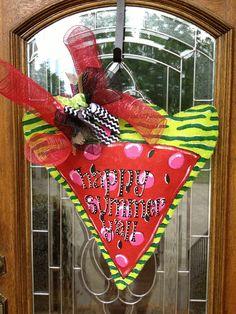 Happy summer y'all watermelon slice burlap door hanger