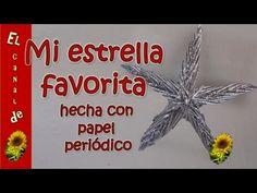 ESTRELLA NAVIDEÑA HECHA CON PAPEL PERIODICO - STAR CHRISTMAS MADE WITH N...
