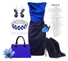 """""""Crazy for Blue"""" by colormegirly ❤ liked on Polyvore featuring Chico's, Talbot Runhof, Gianvito Rossi, handbags, fashionset and polyvoreset"""