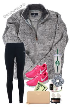 """""""Do these Nikes go with this?"""" by southernsophia ❤ liked on Polyvore featuring NIKE, Apple, Kendra Scott, Kate Spade and WALL"""