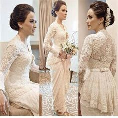 Cheap wedding dress gothic, Buy Quality wedding dress color directly from China wedding programme Suppliers: Other dresses you may like: elegant lace wedding dresses ankle length 2014 with long sleeves sheer l Vera Kebaya, Kebaya Lace, Batik Kebaya, Kebaya Dress, Batik Dress, Kebaya Hijab, Couture Wedding Gowns, Dream Wedding Dresses, Bridal Dresses