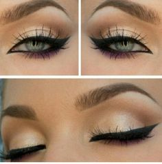 Natural colors and wingtip liner eyeshadow shimmer