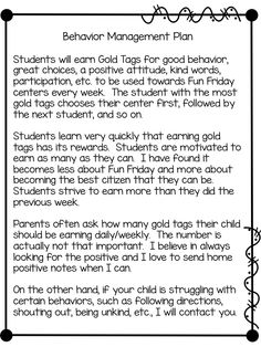 Gold Tags Behavior Management Plan (freebies)  NEW update from Teeny Tiny Teacher