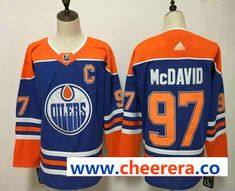 82a3bdfb75d Men s Edmonton Oilers Connor McDavid Royal Blue With Orange Home 2019 Hockey  Stitched NHL Jersey