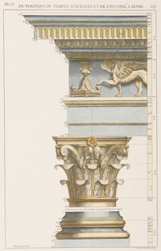 """Roman Architectural Detail, 12503.Series of 3, Hand Colored, 10 x 15"""". Please call 212-838-5488 for more information and to purchase."""