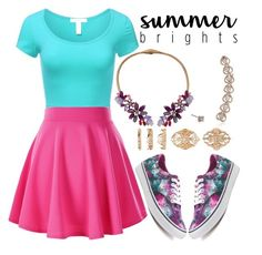 """""""Summer Brights"""" by mfkapocias ❤ liked on Polyvore featuring J.TOMSON, Vans, Betsey Johnson, Forever 21 and summerbrights"""