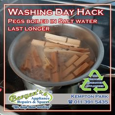 Pegs should add to your washing day blues... Pegs last longer if you boil it in a teaspoon of salt for a few minutes. This prevents them from breaking or pulling apart. We also recycle your unwanted appliances free of charge. #wekeepthemworking #bergensappliances #appliancerepair #appliancepart #wefixappliances #quote #southafrica #inthekitchen #washingmachine #tumbledryer #microwave #dishwasher #vacuum #stove #oven #refridgerator #pegs #washingday #laundryday #laundry Appliance Repair, Appliance Parts, Bergen, Laundry Pegs, Domestic Appliances, Stove Oven, Home Automation, Branches, Washing Machine