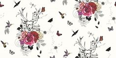 Spellbound White Multi (665300) - Arthouse Wallpapers - A magical stag motif, surrounded by woodland creatures, flowers and birds. Bold pink flowers contrast with the black and white design. Please request sample for true colour match.