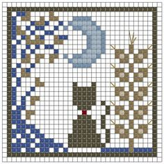 free cat and moon chart cross stitch