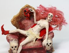 NAKED WITCH on Devil's Throne Paper Mache SCULPTURE, ooak handmade art doll, halloween home decor, lascivious, sensual, creepy pin-up witch by LalkowniaPaperArt on Etsy