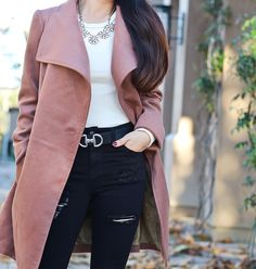 Chicwish Urban Chic Belted Woolen Coat in Tan, Topshop JAMIE SUPER RIP SKINNY petite JEANS
