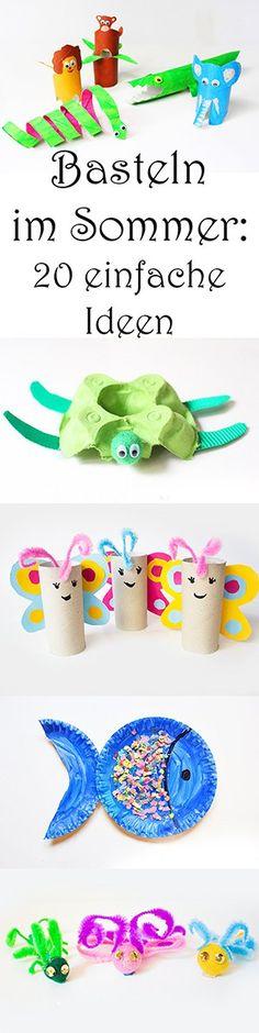 Basteln mit Kindern im Sommer - 20 einfache Ideen - Schmetterling, Fisch, Schildkröte, Krokodil, Tiere basteln