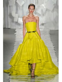 This stunning ball gown in that electrifying chartreuse! Amazing!